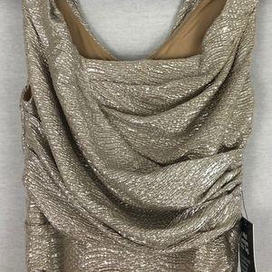 Express Dresses - Express Gold Metallic Ruched Mini Dress NWT